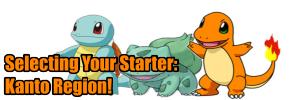 Choosing a starter pokemon the Kanto Region