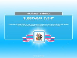 Sims FreePlay Sleepwear Event 2016